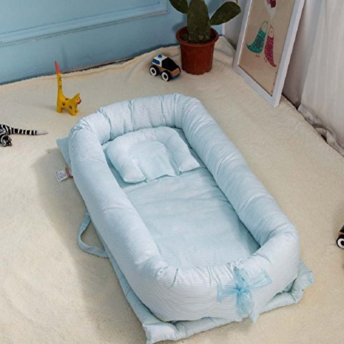 Baby Bassinet for Bed, V-mix Baby Co-Sleeping Cribs & Cradles Lounger Cushion with 100% Un-Dyed Organic Cotton Cover - Perfect for Cuddling, Lounging - Breathable & Hypoallergenic - Safety Sleeping