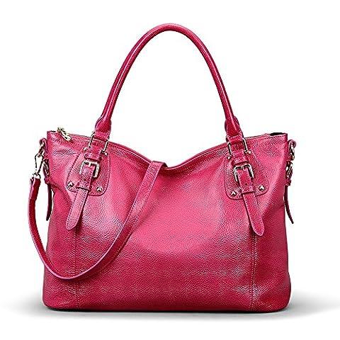 Kattee Women's Vintage Genuine Soft Leather Tote Shoulder Bag (Rose, Large) - Pink Laptop Tote