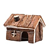 Yunt Hamster Wooden House Cage Natural Rat House with Chimney for Hamster Chinchillas Guinea Pigs M