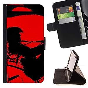 For Samsung Galaxy Note 5 5th N9200 Case , Contraste Negro Pintura vampiro solo- la tarjeta de Crédito Slots PU Funda de cuero Monedero caso cubierta de piel