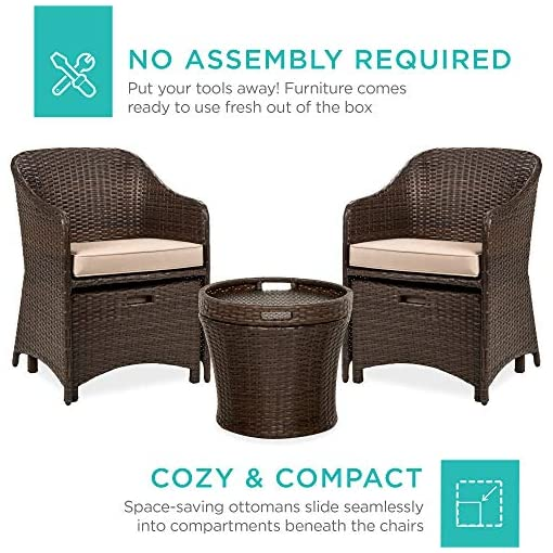 Garden and Outdoor Best Choice Products 5-Piece Outdoor Wicker Bistro Set Multipurpose Furniture for Patio, Yard, and Garden w/ 2 Chairs, 2… patio furniture sets
