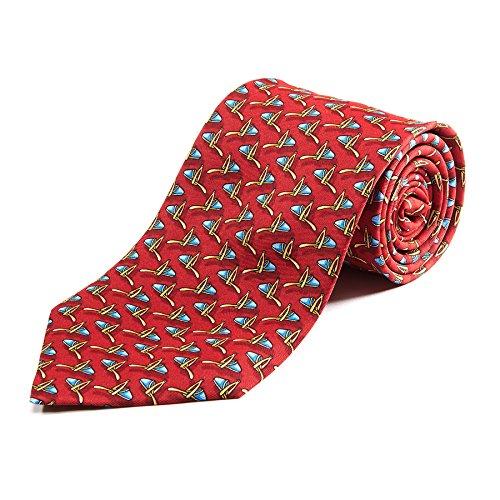 100% Silk Handmade Slipper Stirrup Tie - Ruby Silk Slippers