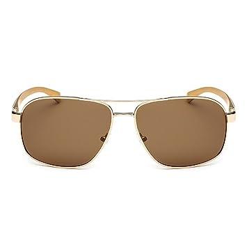 QHGstore Unisex Protección UV400 polarizado Doble Puente unisex gafas de sol gafas de Oro + leonado
