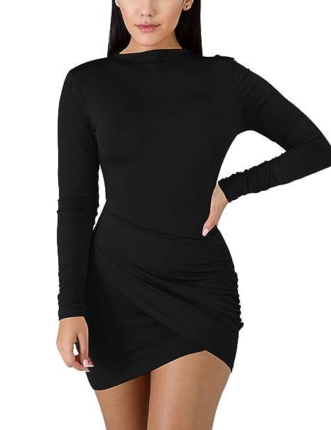 7f540273b9faa BORIFLORS Women s Sexy Wrap Front Long Sleeve Ruched Bodycon Mini Club Dress