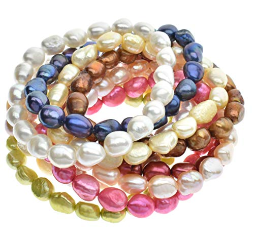 7-8mm Freshwater Cultured Pearl Stretch Bracelets Dyed Vibrant Colors 7