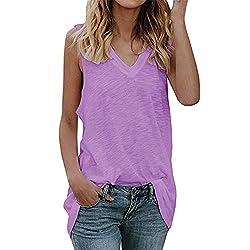 Ykaritianna Womens Tank Tops V Neck Sleeveless Casual Summer Loose Fit Vesttunic Shirts Purple