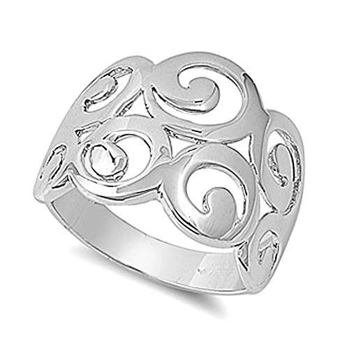 Sterling Silver Circle Designs Plain Ring - size 7 (Ring Design Circle)