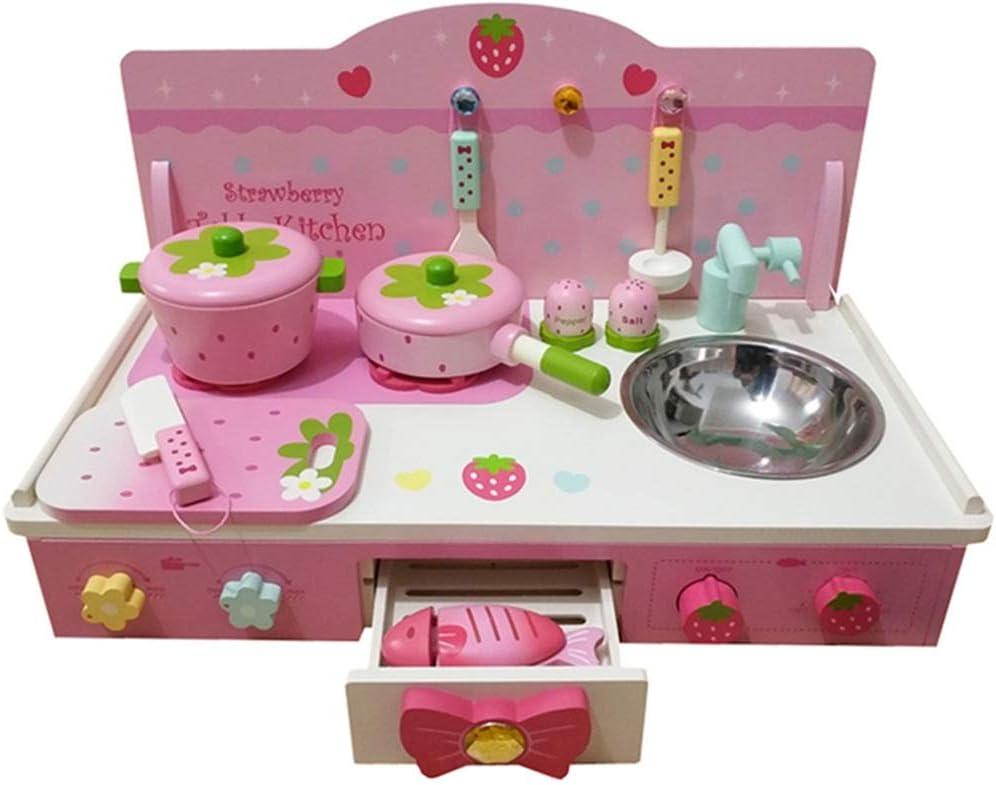 キッチンプレイセット キッチン、木製リトルシェフごっこ遊び調理器具アクセサリー、インテリジェント玩具キッチンプレイセットを備えたキッチン調理玩具セットをプレイ 子供のキッチンパートナー (色 : Pink, Size : 55x28x32cm)