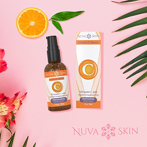 51eiJKYdltL - Nuva Skin Vitamin C Serum for Face and Eyes w/Hyaluronic Acid & Liquid Vitamin E - Natural Anti Aging, Anti Wrinkle Facial Treatment - Antioxidant Moisturizer for Acne, Scars & Even Skin Tone