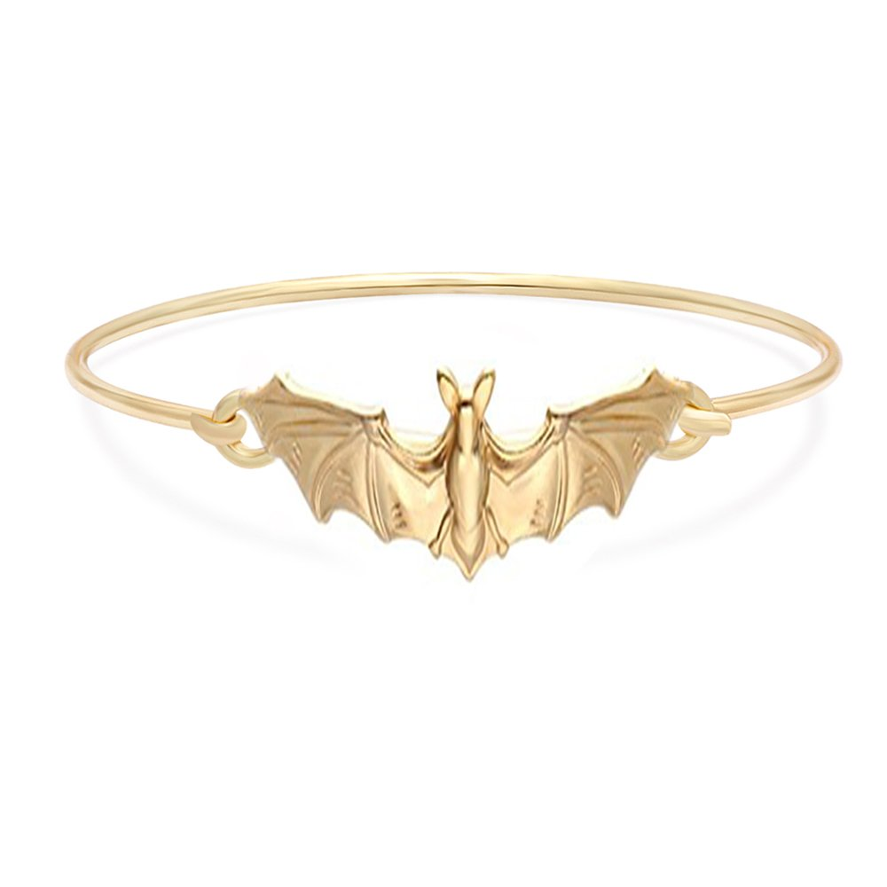MANZHEN Gold Silver Vampire Bat Bangle Open Hook Bangle Bracelet Halloween Jewelry