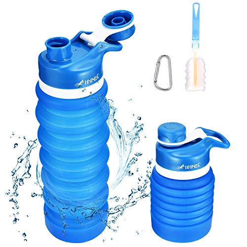 FIRINER Collapsible Water Bottle 27oz Upgrade Capacity BPA Free FDA Approved Silicone Foldable Water Jug Leakproof Waterbottles with Carabiner & Brush for Travel, Hiking, Cycling, Sports