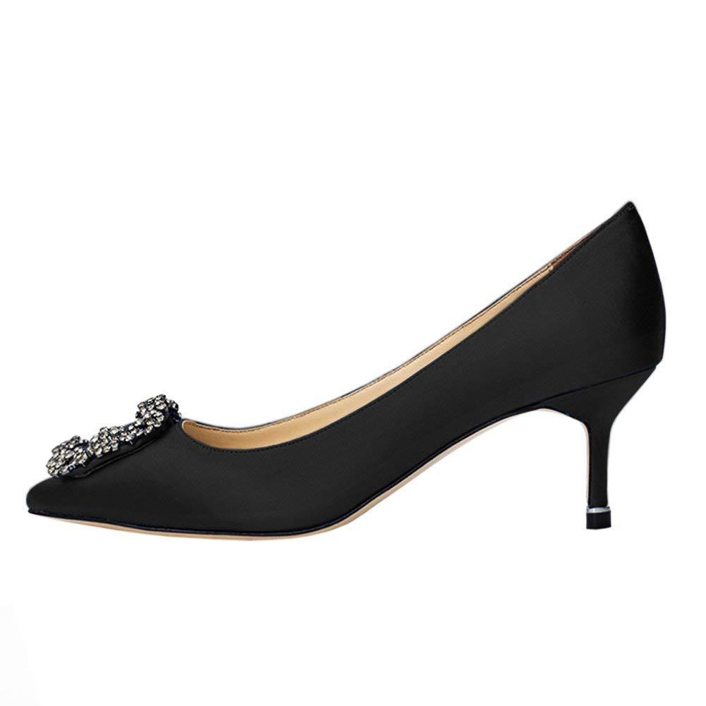 Caitlin Stilettos Pan Damen Klassische High Heels Satin Spitzschuh Diamant Stilettos Caitlin Slip on Pumps schwarz-6.5cm 815390