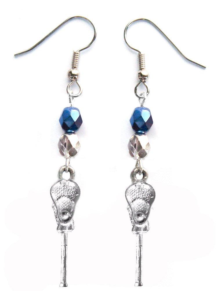 ''Lacrosse Stick & Ball'' Lacrosse Earrings (Team Colors Navy Blue & Silver)