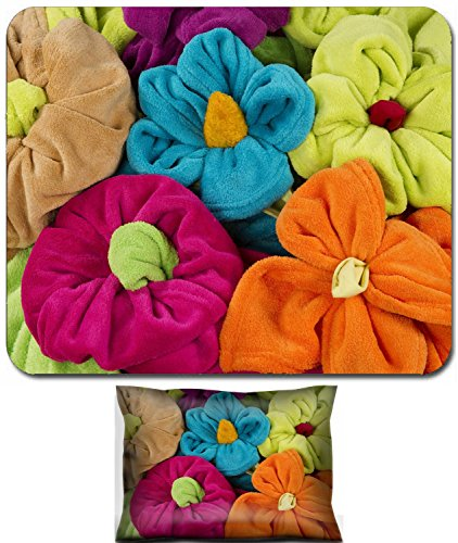 Terry Stack - Liili Mouse Wrist Rest and Small Mousepad Set, 2pc Wrist Support stack of colored terry towel shape of a flower 28500849