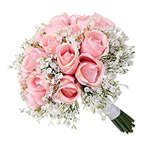 Iusun Bridal Bouquet - Artificial Flowers Crystal Rose Pearl Romantic Floral Wedding Centerpieces Arrangements Party Festival Holiday Home Office Hanging Decorations Valentine's Day (B) 14