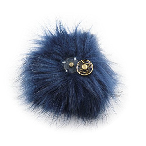 DIY Knitting Hats Accessires-Faux Fake Fur Pom Pom Ball with Press Button (Navy Blue) -  furling