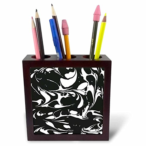 3dRose Andrea Haase Graphic Art - Black and White Marble Graphic - 5 inch tile pen holder ()