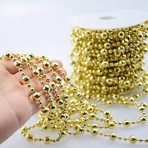 Gold Beaded Christmas Garland 37.7 Feet Pearl Beads String Crystal Strand for Christmas Tree, Valentine, Exhibition, Wedding, Costume, DIY Decoration (Gold - 37.7ft)