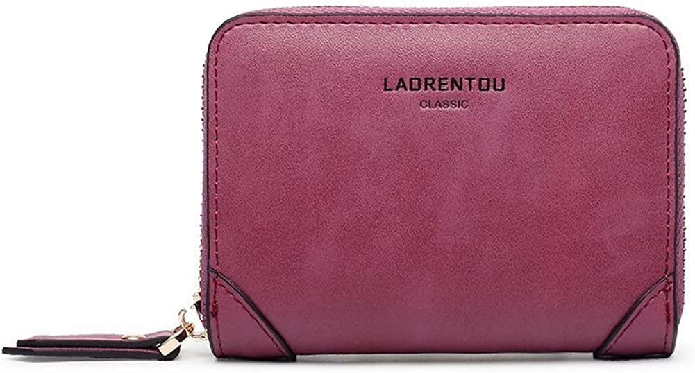 LAORENTOU Genuine Leather Women's Billfold Wallets for Girl Credit Card Holder Case Coin Money Short Wallet