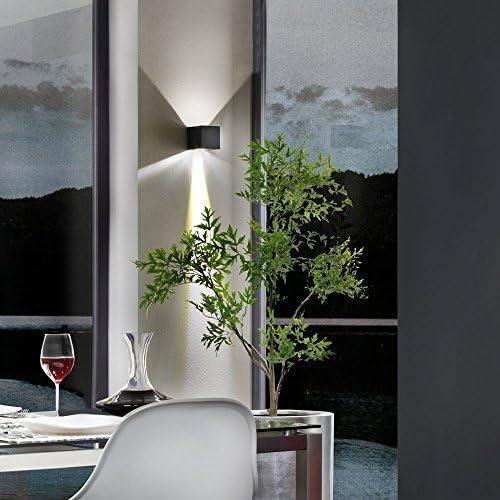 s.LUCE Ixa LED Wandleuchte + verstellbare Winkel IP44 Aussen-Wandlampe Schwarz, Fassadenbeleuchtung Up&Down Lichteffekte mit stufenlos einstellbaren Klappen
