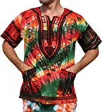 RaanPahMuang African Dashiki Mexican Wild Tie Dyed Short Sleeve Shirt XS-7XL, Small, Green Red