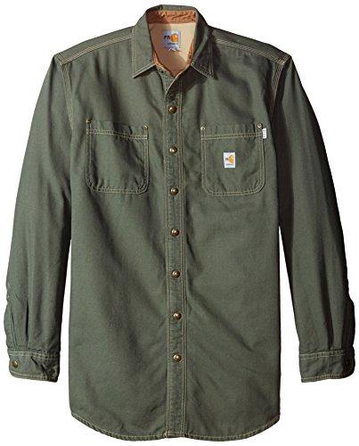 Carhartt Men's Big & Tall Flame Resistant Canvas Shirt Jacket,Moss,Large Tall ()