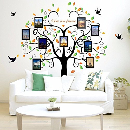 Family Tree Wall Decal + 9 Photo Picture Frames, easy to install & apply history decor mural for Home, Office, Bedroom, Living Room, Kids Room decoration - DIY Photo Gallery Frame Sticker by GoGoDecal (Photo Wall Decal)