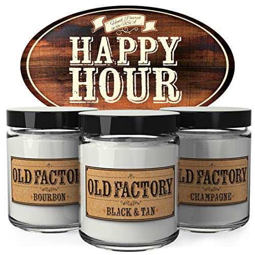- Old Factory Scented Candles - Happy Hour - Decorative Aromatherapy - Handmade in The USA with Only The Best Fragrance Oils - 3 x 4-Ounce Soy Candles