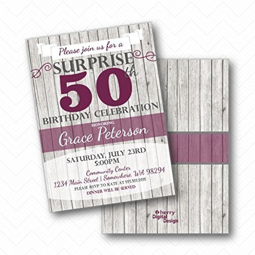 Amazon White Wood Rustic Surprise Birthday Party Invitations