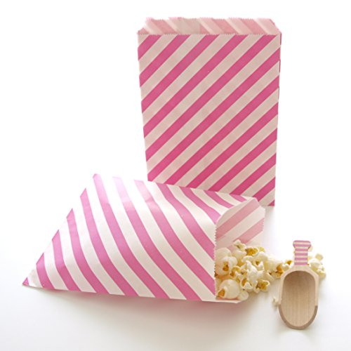 Candy Buffet Goody Gift Bag, To-go Bags for Cupcakeries, Pastry Shops & Chocolate Stores, Fuchsia Hot Pink Stripe Bags (25 - Candy Fuchsia