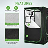 "VIVOSUN 60""x60""x80"" Mylar Hydroponic Grow Tent with Observation Window and Floor Tray for Indoor Plant Growing"