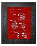 "Wrestling Headgear Patent Art Burgundy Red Print in a Rustic Oak Wood Frame (18"" x 24"")"
