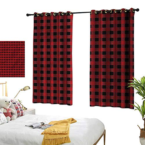 Warm Family Red and Black Customized Curtains Chess Board Squares Suitable for Bedroom Living Room Study, etc.55 Wx39 L ()