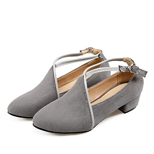 Toe Heels Solid Buckle Pumps Pointed Gray Closed Imitated Women's Shoes WeiPoot Suede Low wU4zzqt