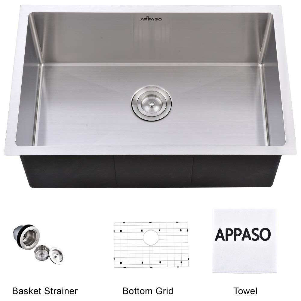 APPASO 28-inch Single Bowl Kitchen Sink Undermount, 18 Gauge Stainless Steel Commercial Handmade 10 inch Deep Large Drop-in Kitchen Sink (R281810)