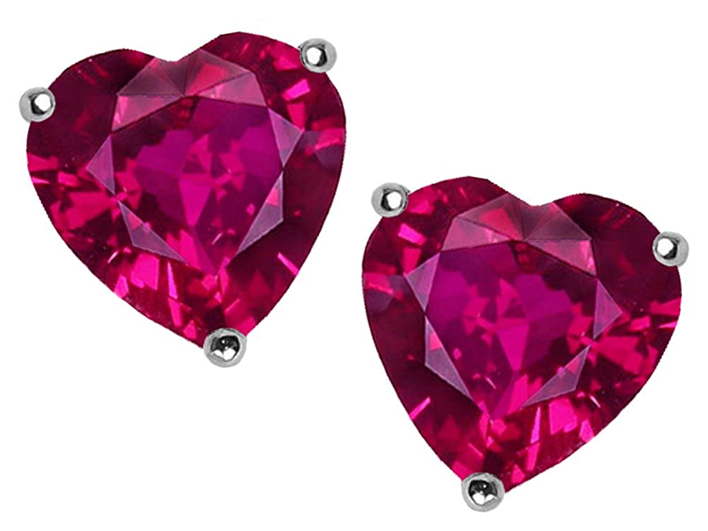 Star K 7mm Heart Created Ruby Earrings Studs Sterling Silver 26334