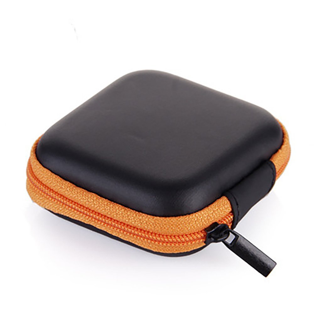 Hilai Square Carrying Cases para Celular Auriculares para Auriculares Earbuds Pouch Storage Bags (Orange) 1 PC