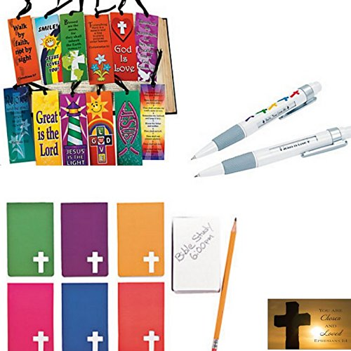 (Bible Study Gifts (24 Sets): Notebooks, Bookmarks, Bible Message Pens with a Bonus Ephesians 1:4 Scripture Wallet Card)