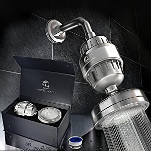 Luxury Filtered Shower Head Set (Metal) Cartridge Vitamin C + 10-Stage Shower Water Filter - Universal Shower System - Helps Dry Skin & Hair Loss - Removes Chlorine & Sediments