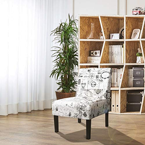 AODAILIHB Armless Accent Chair Modern Fabric Printing Leisure Chair Single Sofa Deco Living Room Bedroom Office Armless Chair MAP 1PCS
