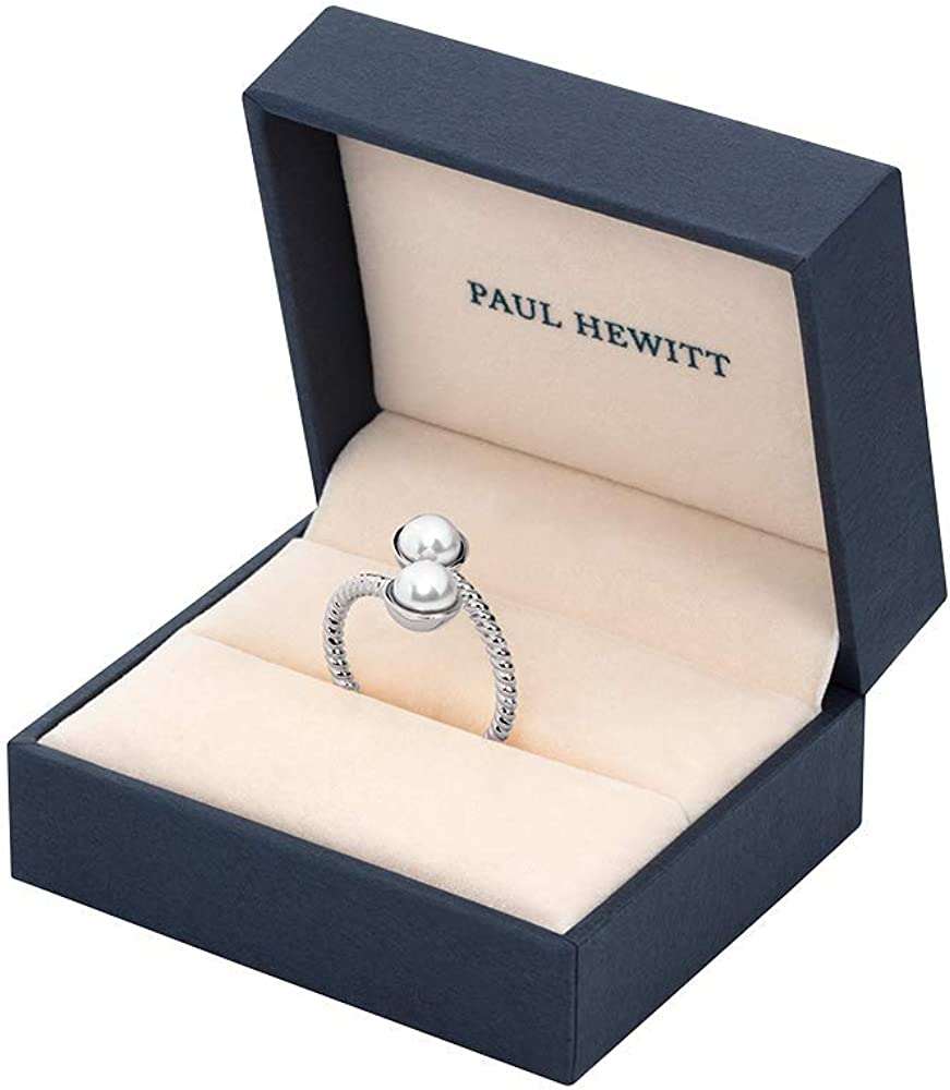 PAUL HEWITT Bague Femme Rope Perle Bague Femme Or Rose Argent Or avec Perle Bague Femme