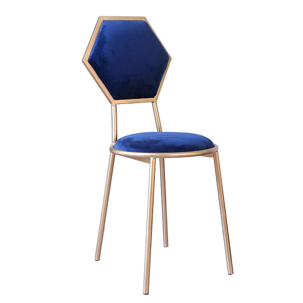 Royal bluee Barstools Chair with Back for Kitchen Bar gold Metal Legs - Velvet Upholstered Seat - 48cm Pub Height - Modern Leisure Dining Chairs Vanity Stool