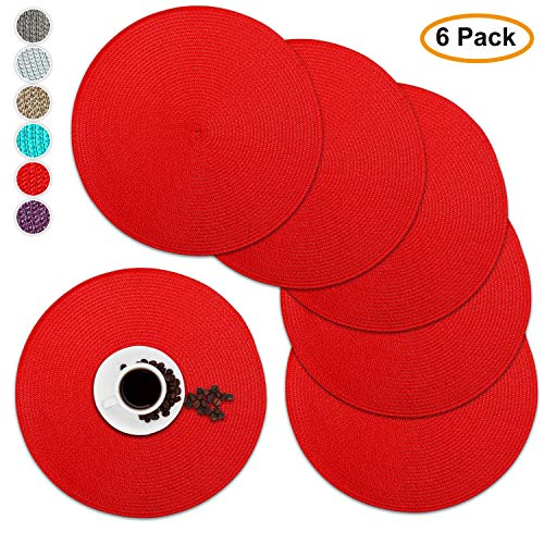Round Placemats 15 Inch Disko Placemats Heat Insulation Stain-Resistant Washable Round Table Mats for Dining Set of 6 (Red) -