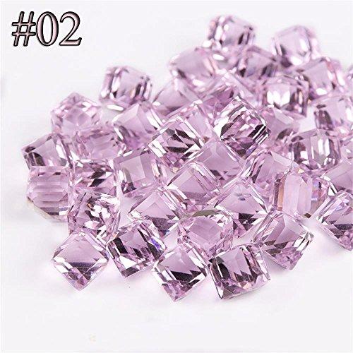 Miswilsi 10PCS Colorful 3D Diamond Shine Rhinestones Nail Art Glitters Cube Square AB Gem Stone
