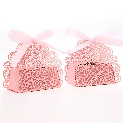 - 50 Pack Roses Flowers Laser Cut Favor Candy Box Bomboniere with Ribbons Bridal Shower Wedding Party Favors (Pink)