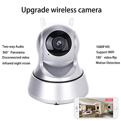 WiFi IP Camera, YTAT 1080P HD Indoor Wireless Home Security Surveillance Camera with Pan 355° and Tilt 105°, Two Way Audio, Night Vision, Motion Detection, Baby pet Monitor, Nanny Cam (105 Audio)