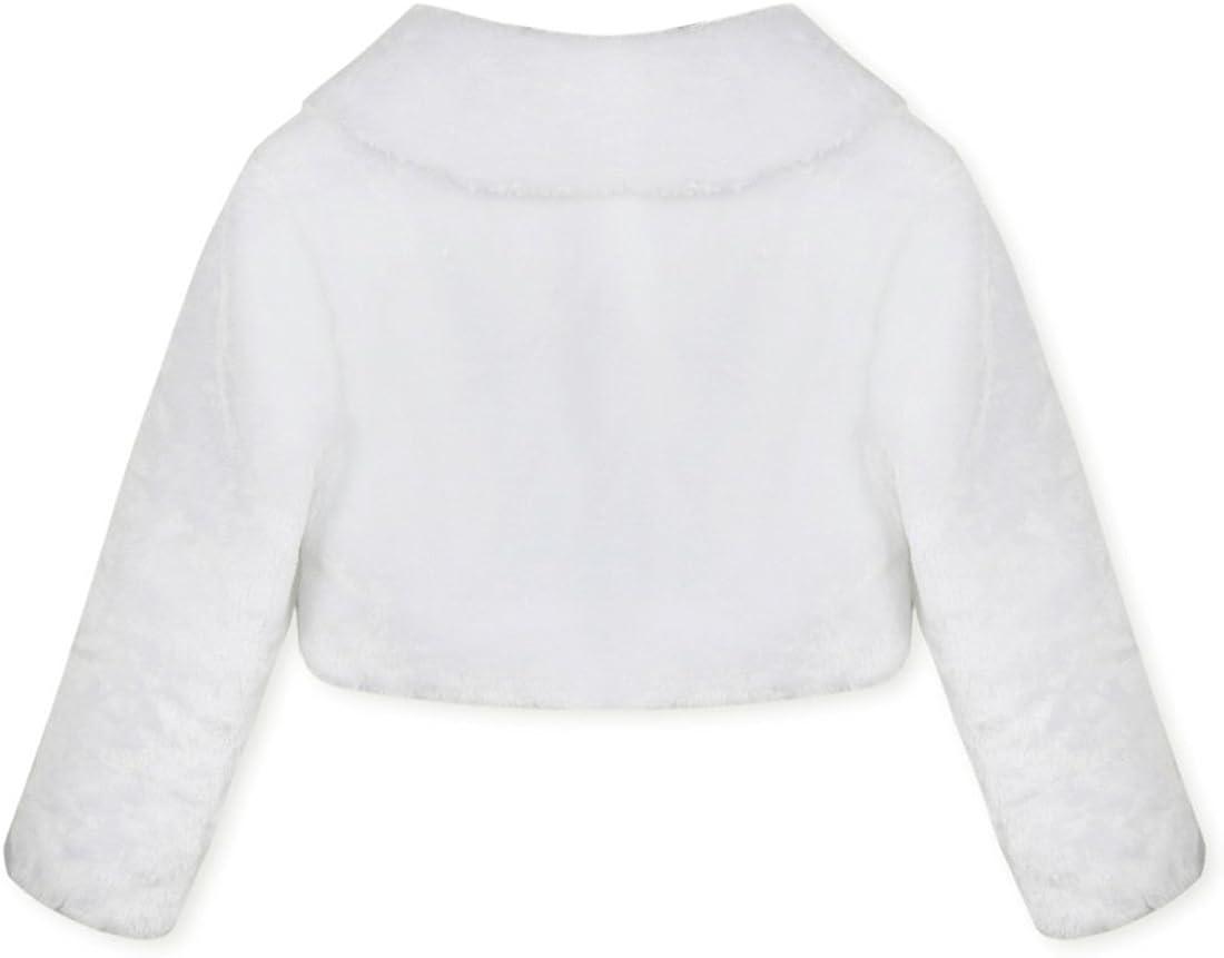 Alvivi Kids Little Girls Long Sleeves Faux Fur Cadigan Bolero Shrug Bridesmaid Wedding Flower Dress Shawl Jacket Coat