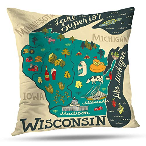 Soopat Decorative Pillow Cover 18 x 18 Inch 2 Sides Printed Wisconsin State of UsaLicense Plate Backgroun Throw Pillow Cases Decorative Home Decor