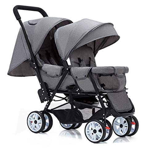 Double Stroller, Twin Tandem Baby Stroller, 5 Points Safety Belts, Foldable Design for Easy Transportation (Color : Gray)