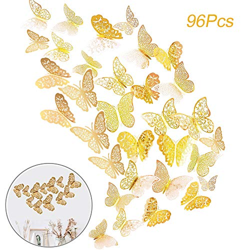 (Creatiee 96Pcs Butterfly Wall Sticker Decal, Metallic 3D Art Mural Decoration DIY Flying Decor for Kids Bedroom Home Party Nursery Classroom Offices Décor - Removable & Multi-Style(Gold))